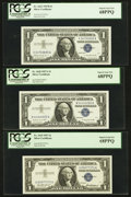 Small Size:Silver Certificates, Fr. 1619 $1 1957 Silver Certificate. PCGS Superb Gem New 68PPQ. Fr. 1620 $1 1957A Silver Certificate. PCGS Superb Gem New ... (Total: 3 notes)