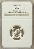 Roosevelt Dimes: , 1950-D 10C MS66 NGC. NGC Census: (472/431). PCGS Population(753/141). Mintage: 46,803,000. Numismedia Wsl. Price for probl...