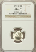 Roosevelt Dimes: , 1950-D 10C MS66 Full Torch NGC. NGC Census: (270/225). PCGSPopulation (653/129). Mintage: 46,803,000. Numismedia Wsl. Pric...