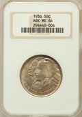 Commemorative Silver, 1936 50C Arkansas MS64 NGC. NGC Census: (435/327). PCGS Population(551/393). Mintage: 9,660. Numismedia Wsl. Price for pro...
