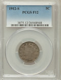 Liberty Nickels, 1912-S 5C Fine 12 PCGS. PCGS Population (317/1034). NGC Census:(183/595). Mintage: 238,000. Numismedia Wsl. Price for prob...