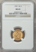 Liberty Quarter Eagles, 1907 $2 1/2 MS65 NGC....