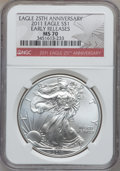 Modern Bullion Coins, 2011 $1 Silver Eagle, 25th Anniversary Early Releases MS70 NGC. NGCCensus: (52895). PCGS Population (38356)....