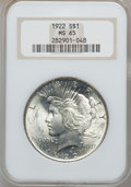 Peace Dollars: , 1922 $1 MS65 NGC. NGC Census: (14321/1463). PCGS Population(5733/609). Mintage: 51,737,000. Numismedia Wsl. Price for prob...