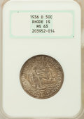 Commemorative Silver, 1936-D 50C Rhode Island MS63 NGC. NGC Census: (87/1603). PCGSPopulation (336/2315). Mintage: 15,010. Numismedia Wsl. Price...