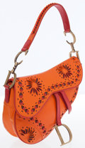 Luxury Accessories:Bags, Christian Dior Orange & Red Leather Saddle Bag . ...