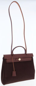 Luxury Accessories:Bags, Hermes Havane Vache Naturale Leather & Brown Canvas Herbag PMwith Gold Hardware. ...