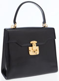Luxury Accessories:Bags, Gucci Black Calf Leather Two Way Top Handle Bag with ShoulderStrap. ...