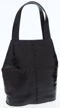 Luxury Accessories:Bags, Yves Saint Laurent Black Crocodile-Style Embossed Leather ShoulderBag. ...