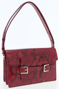Luxury Accessories:Bags, Fendi Red Python Shoulder Bag with Silver Hardware. ...