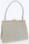 Luxury Accessories:Bags, Versace Light Metallic Green Embossed Python-Effect LeatherShoulder Bag. ...