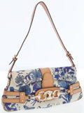 Luxury Accessories:Bags, Gucci Blue Flower Print Canvas & Brown Leather HorsebitShoulder Bag . ...