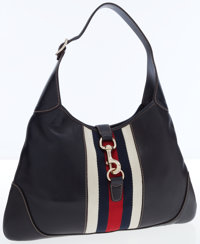 Gucci Navy Leather with Web Stripe Jackie Bag