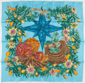 "Luxury Accessories:Accessories, Hermes Light Blue & Gold ""Passiflores,"" by Valerie Dawlat-Dumoulin Silk Scarf. ..."