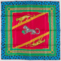 "Luxury Accessories:Accessories, Cartier Green, Blue & Magenta ""Must de Cartier"" Silk Scarf. ..."