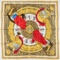 "Luxury Accessories:Accessories, Hermes Gold & Red ""Casques et Plumets,"" by Julia Abadie SilkScarf. Excellent Condition. 36"" Width x 36"" Length. ..."