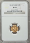 Commemorative Gold, 1903 G$1 Louisiana Purchase/Jefferson MS66 NGC,... (Total: 2 coins)