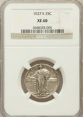 Standing Liberty Quarters: , 1927-S 25C XF40 NGC. NGC Census: (54/277). PCGS Population(86/473). Mintage: 396,000. Numismedia Wsl. Price for problem fr...