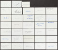 Autographs:Index Cards, Baseball Greats Signed Index Cards Lot Of 30+...