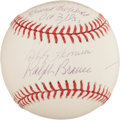 Autographs:Baseballs, Bobby Thomson And Ralph Branca Dual Signed Baseball With Shot HeardRound The World Inscription....