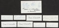 Football Collectibles:Uniforms, Football Legends Signed Cuts And Index Cards Lot Of 9....