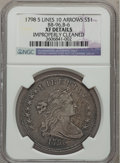 Early Dollars, 1798 $1 Large Eagle, Knob 9, 5 Stripes, 10 Arrows -- ImproperlyCleaned -- NGC Details. XF. B-6, BB-96, R.3....