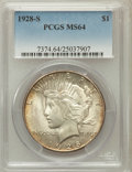 Peace Dollars: , 1928-S $1 MS64 PCGS. PCGS Population (1773/48). NGC Census:(1284/40). Mintage: 1,632,000. Numismedia Wsl. Price for proble...