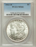 Morgan Dollars: , 1921-D $1 MS66 PCGS. PCGS Population (239/6). NGC Census: (258/7).Mintage: 20,345,000. Numismedia Wsl. Price for problem f...