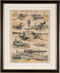 "Military & Patriotic:Foreign Wars, Color Print of the ""Artillerie des Allies"" that Shows Artillery Pieces, Field Guns, a Tank, and an Armored Car...."