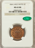 Two Cent Pieces: , 1864 2C Large Motto MS65 Red and Brown NGC. CAC. NGC Census:(576/97). PCGS Population (303/11). Mintage: 19,847,500. Numis...
