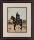 "Militaria:Ephemera, ""A Mounted Officer"", print by Édouard Detaille, 1877...."