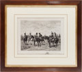 "Militaria:Ephemera, ""Meeting of the Troops"", print signed by L. Ruet...."