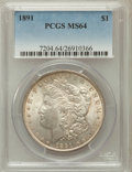 Morgan Dollars: , 1891 $1 MS64 PCGS. PCGS Population (1734/123). NGC Census:(1153/127). Mintage: 8,694,206. Numismedia Wsl. Price for proble...
