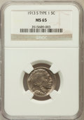 Buffalo Nickels: , 1913-S 5C Type One MS65 NGC. CAC. NGC Census: (221/67). PCGSPopulation (310/142). Mintage: 2,105,000. Numismedia Wsl. Pric...