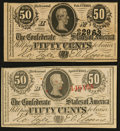 Confederate Notes:1863 Issues, T63 50 Cents 1863 PF-2 Cr. UNL. T72 50 Cents 1864 PF-1 Cr. 578..... (Total: 2 notes)
