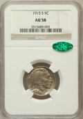 Buffalo Nickels: , 1915-S 5C AU58 NGC. CAC. NGC Census: (56/403). PCGS Population(100/585). Mintage: 1,505,000. Numismedia Wsl. Price for pro...