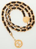 Luxury Accessories:Accessories, Chanel Gold & Black Leather Chain Belt with CC Medallion. ...