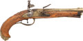Handguns:Muzzle loading, Unmarked Brass-Barreled Flintlock Pistol. ...
