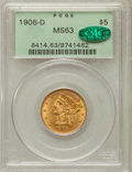 Liberty Half Eagles: , 1906-D $5 MS63 PCGS. CAC. PCGS Population (565/322). NGC Census:(598/408). Mintage: 320,000. Numismedia Wsl. Price for pro...