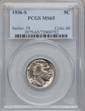 Buffalo Nickels: , 1936-S 5C MS65 PCGS. PCGS Population (1625/697). NGC Census:(710/380). Mintage: 14,930,000. Numismedia Wsl. Price for prob...