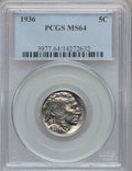 Buffalo Nickels: , 1936 5C MS64 PCGS. PCGS Population (913/3384). NGC Census:(392/2040). Mintage: 119,001,420. Numismedia Wsl. Price for prob...
