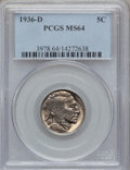 Buffalo Nickels: , 1936-D 5C MS64 PCGS. PCGS Population (933/2534). NGC Census:(404/1619). Mintage: 24,814,000. Numismedia Wsl. Price for pro...