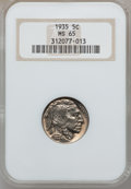 Buffalo Nickels: , 1935 5C MS65 NGC. NGC Census: (578/344). PCGS Population(1079/725). Mintage: 58,264,000. Numismedia Wsl. Price forproblem...