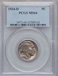 Buffalo Nickels: , 1934-D 5C MS64 PCGS. PCGS Population (929/402). NGC Census:(612/121). Mintage: 7,480,000. Numismedia Wsl. Price for proble...