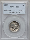 Buffalo Nickels: , 1937 5C MS66 PCGS. PCGS Population (3579/318). NGC Census:(4176/391). Mintage: 79,485,769. Numismedia Wsl. Price for probl...