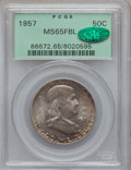 Franklin Half Dollars: , 1957 50C MS65 Full Bell Lines PCGS. CAC. PCGS Population (628/433).NGC Census: (116/71). Numismedia Wsl. Price for pr...