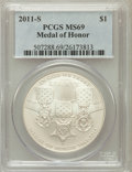 Modern Issues, 2011-S $1 Medal of Honor MS69 PCGS. PCGS Population (479/125). NGCCensus: (245/321). Numismedia Wsl. Price for problem fr...
