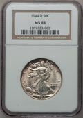 Walking Liberty Half Dollars: , 1944-D 50C MS65 NGC. NGC Census: (2387/1540). PCGS Population(3951/1891). Mintage: 9,769,000. Numismedia Wsl. Price for pr...