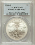 Modern Issues, 2011-S $1 U.S. Army MS69 PCGS. PCGS Population (498/227). NGCCensus: (175/438). Numismedia Wsl. Price for problem free NG...