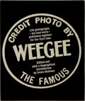 Books:Photography, [Photography]. Louis Stettner [editor]. Weegee. Knopf, 1977.First edition, first printing. Publisher's binding. Mil...